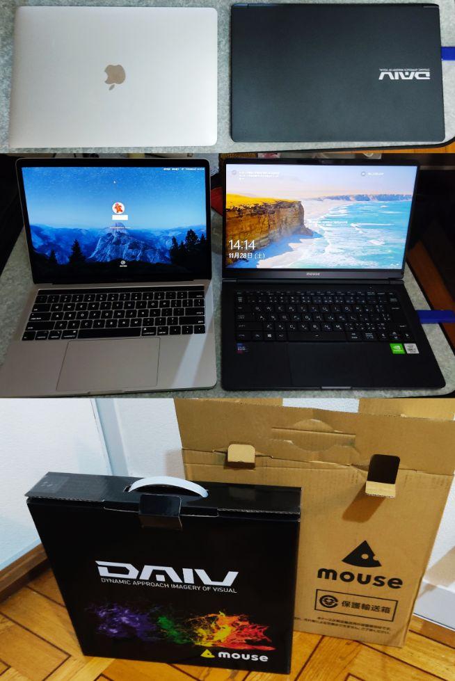 マウス daiv 4n レビュー 動画編集 動画編集しやすいパソコン と MacBookPro の比較写真